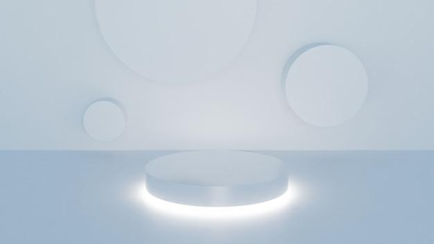 Scena bianca minima della parete del podio della rappresentazione 3d