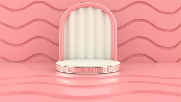 Scena con forme geometriche, arco con un podio in colori pastello, piattaforma pastello, rendering 3d
