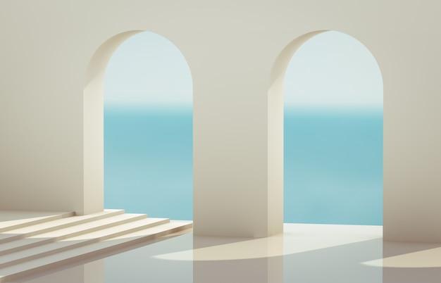 Scena con forme geometriche, arco con un podio nella luce del giorno naturale. sfondo paesaggio minimal. vista sul mare. 3d render sfondo.