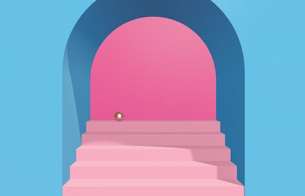 Scena con forme geometriche, arco con un podio, sfondo minimale. rendering 3d.
