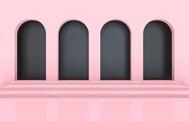 Scena con forme geometriche, arco con un podio, sfondo minimale, sfondo rosa. rendering 3d.