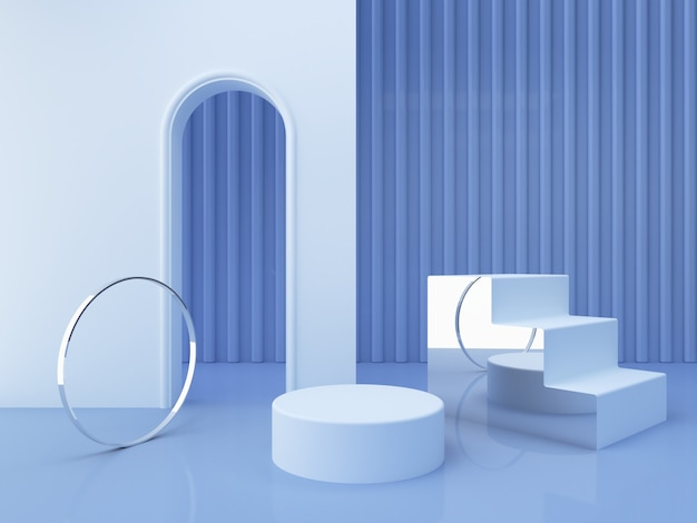 Scena con forme geometriche con podio vuoto. forme geometriche