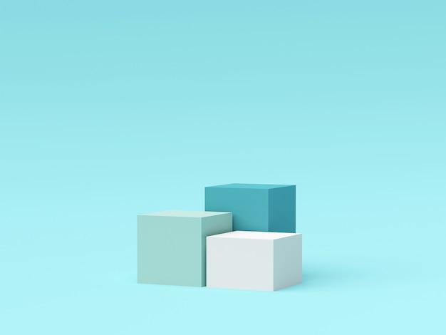 Scena del podio di forma geometrica di colore pastello per la pubblicità del prodotto, rappresentazione 3d