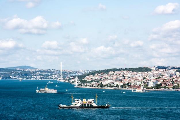Scena dell'oceano di istanbul con nave da crociera