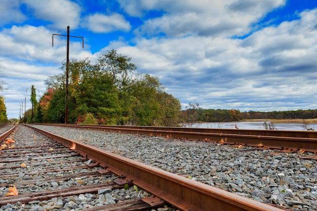Scena della ferrovia con treno merci