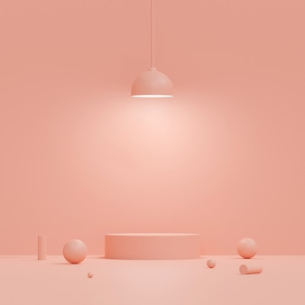 Scena di colore pastello con il podio di forma geometrica con la lampada su fondo rosa, rappresentazione 3d