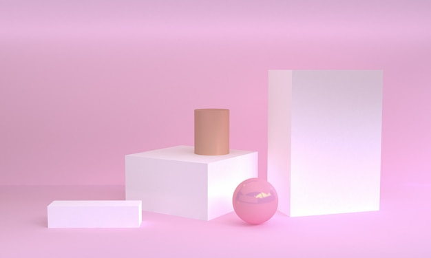 Scena di forma geometrica minima, rendering 3d.