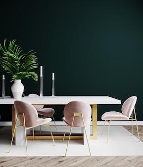 Scena di interior design del soggiorno con sedia rosa, tavolo e parete verde vuota