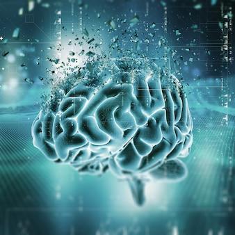 Scena medica 3d che mostra un cervello in frantumi