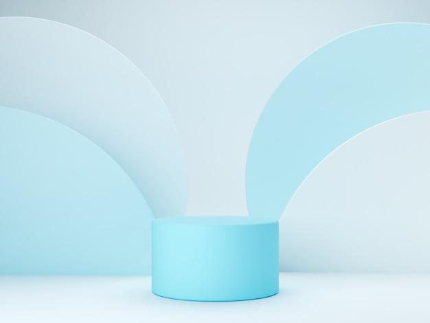 Scena minima con podio e sfondo astratto. forma geometrica. scena di colori pastello blu. rendering 3d minimo. scena con forme geometriche e sfondo blu. rendering 3d.