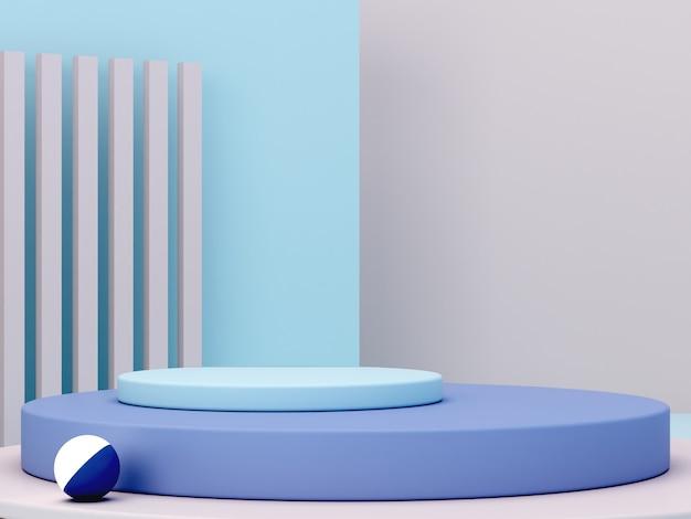Scena minima con podio e sfondo astratto. forma geometrica. scena di colori pastello blu. rendering 3d minimo. scena con forme geometriche e sfondo color crema. rendering 3d.