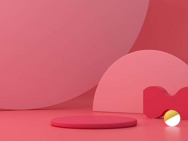 Scena minima con podio e sfondo astratto. forma geometrica. scena rosa e colorata. rendering 3d minimo. scena con forme geometriche e sfondo a trama. rendering 3d.
