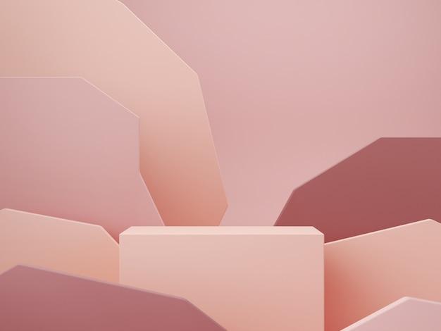 Scena minima con podio e sfondo astratto. forme geometriche. scena di colori pastello. rendering 3d minimo. scena con forme geometriche e sfondo a trama per prodotto cosmetico. rendering 3d.