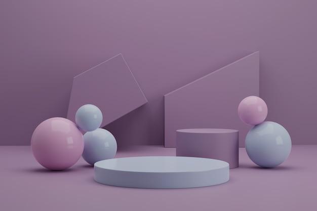 Scena minimale con forme geometriche per la visualizzazione 3d del prodotto