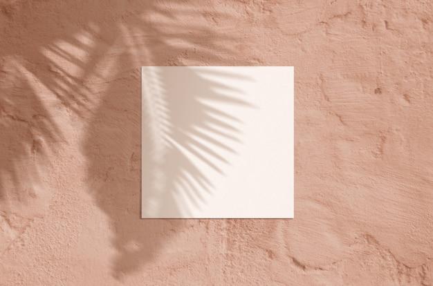 Scena moderna del modello della cancelleria di luce solare di estate. biglietto di auguri vuoto vista dall'alto laico con foglia di palma e rami ombra sovrapposizione su sfondo di terracotta grunge.