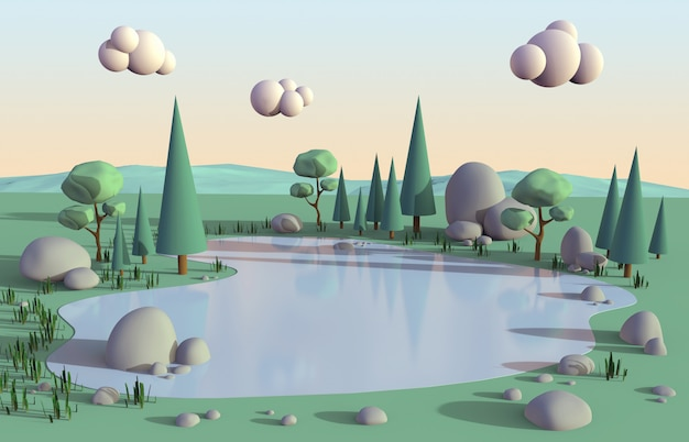 Scena pacifica isometrica del poli lago basso circondata dalle nature degli alberi e clound sul colore dolce di tramonto del cielo per fondo, illustrazione 3d.