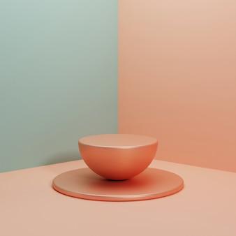 Scena realistica del piedistallo della rappresentazione 3d per l'esposizione del prodotto, concetto minimo di stile