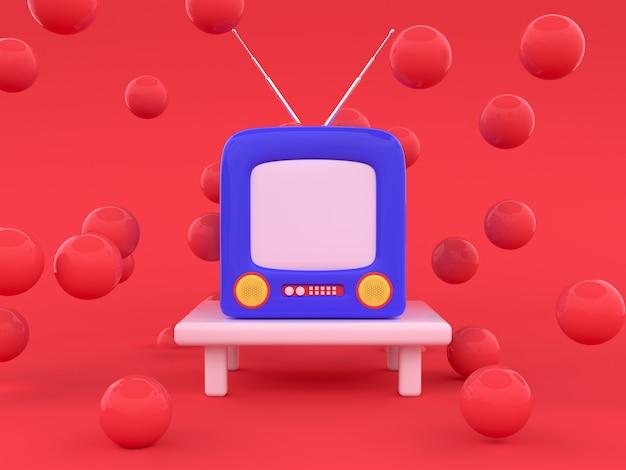 Scena rossa blu televisione stile cartone animato 3d rendering concetto di tecnologia