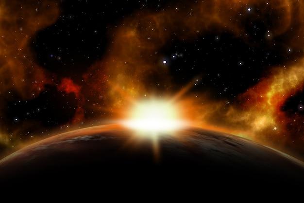 Scena spaziale 3d con il sole che sorge su un pianeta immaginario