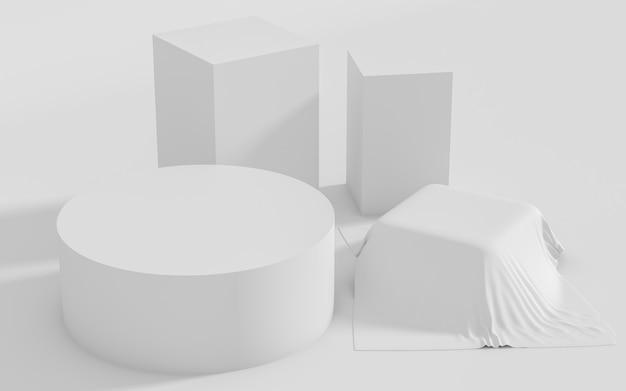 Scena stabilita del gruppo di forma geometrica astratta minima, rappresentazione 3d