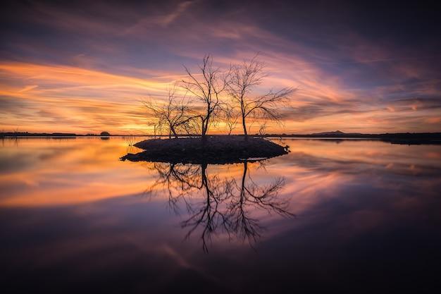 Scena tranquilla in una laguna con un tramonto colorato. tabelle del parco nazionale di daimiel, ciudad real, spagna.