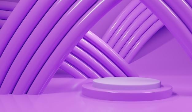 Scena viola astratta 3d con il podio e il tubo viola