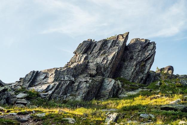 Scenario soleggiato degli altopiani con pietre appuntite di forma insolita.