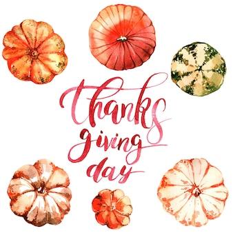 Scheda dell'acquerello per ringraziamento giorno