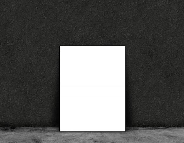 Scheda o manifesto in bianco 3d sulla a in un interno della stanza del grunge