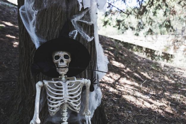 Scheletro con cappello da strega che si appoggia sull'albero e che tiene rosa nei denti