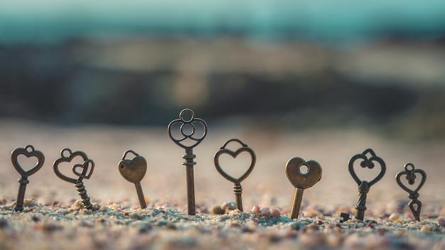 Scheletro d'epoca chiavi sulla pietra di mare