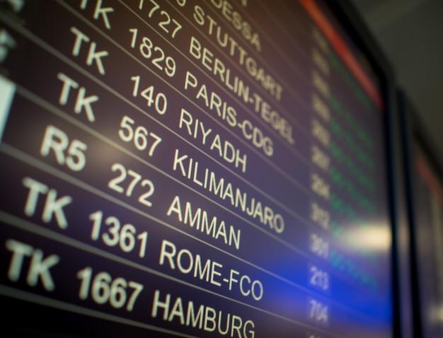 Schermata del terminal dell'aeroporto