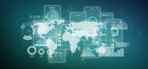 Schermi dell'interfaccia utente con icone, statistiche e dati