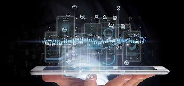 Schermi dell'interfaccia utente della tenuta dell'uomo d'affari con l'icona, le statistiche e la rappresentazione di dati 3d