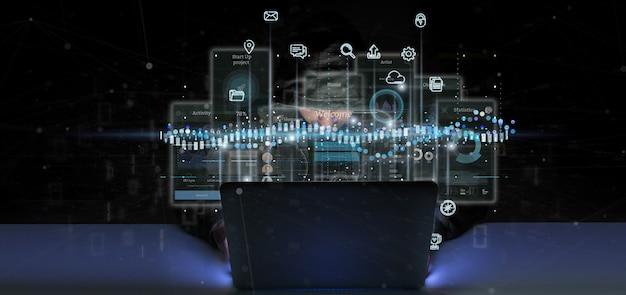 Schermi dell'interfaccia utente della tenuta dell'uomo del pirata informatico con l'icona, le statistiche e la rappresentazione di dati 3d