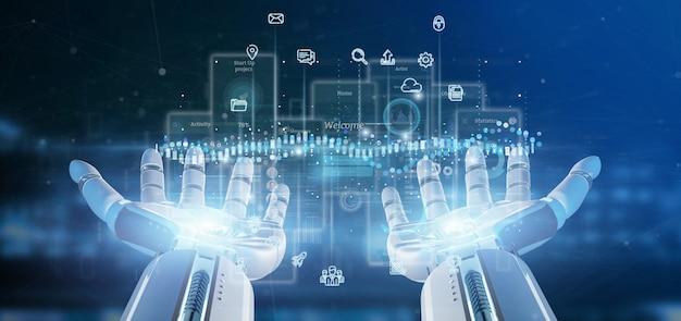 Schermi dell'interfaccia utente della tenuta della mano del cyborg con l'icona, le statistiche e la rappresentazione di dati 3d
