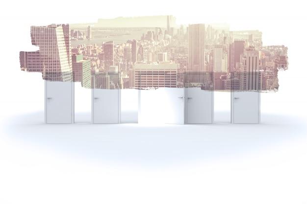 Schermo astratto nella sala che mostra paesaggio urbano