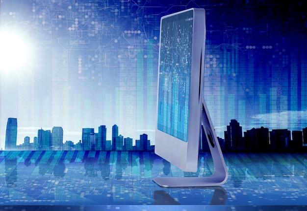 Schermo del computer nel concetto di affari