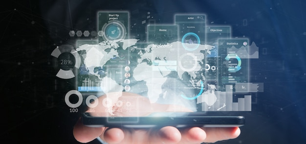 Schermo dell'interfaccia utente della tenuta dell'uomo d'affari con l'icona, le statistiche ed i dati