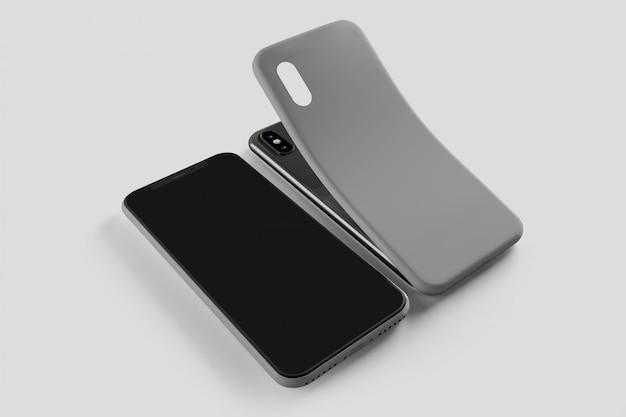 Schermo dello smartphone e modello di caso, rendering 3d