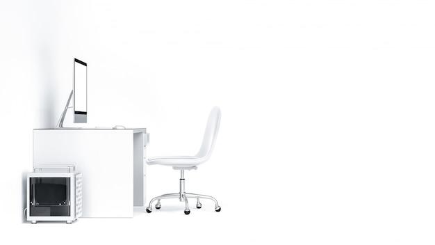 Schermo in bianco da tavolino del computer sulla tavola dello scrittorio del lavoro.