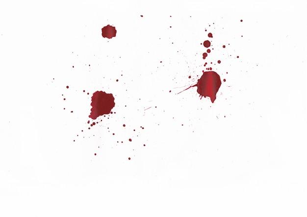 Schizzi di sangue su sfondo bianco