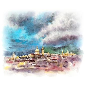 Schizzo ad acquerello di palermo al tramonto, sicilia, italia