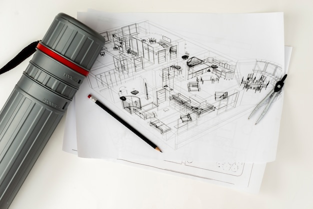 Schizzo architettonico piatto con astina a forma di matita