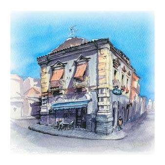 Schizzo dell'acquerello della tipica casa italiana a catania, sicilia, italia