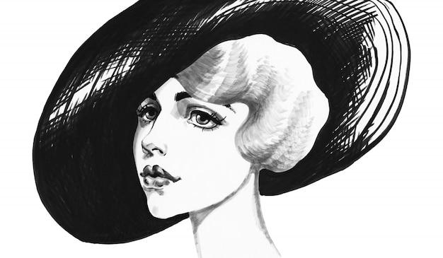 Schizzo di donna con cappello. ritratto d'annata disegnato a mano di signora. illustrazione di moda di pittura su bianco