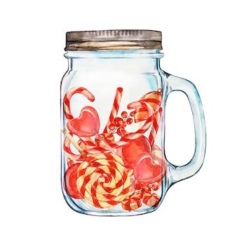 Schizzo di lecca-lecca. composizione con bicchiere.