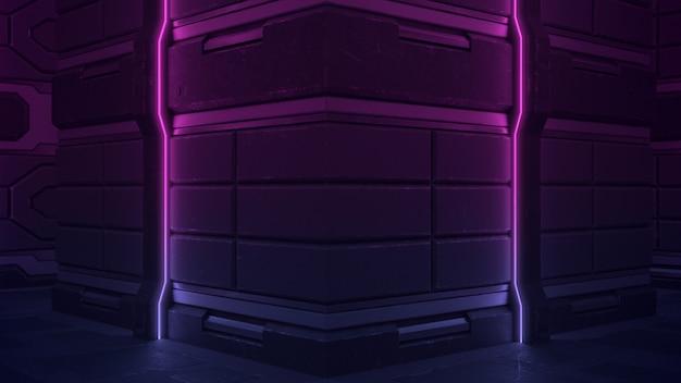 Sci futuristico scuro vuoto fi illuminato da linee al neon verticali in viola.