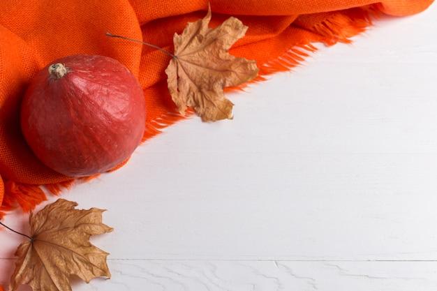 Scialle caldo arancio luminoso, zucche e foglie gialle asciutte su un fondo bianco, umore di autunno, copyspace.