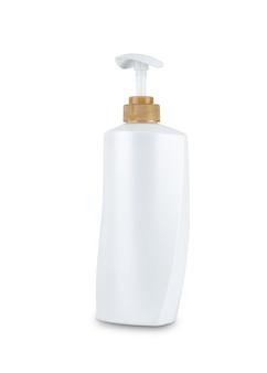 Sciampo cosmetico dell'igiene della bottiglia di plastica dell'ente bianco isolato su fondo bianco